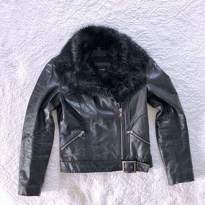 Express Genuine Black Leather Moto Jacket Small